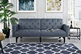 Modern Tufted Fabric Sleeper Sofa Bed with Nailhead Trim, Grey