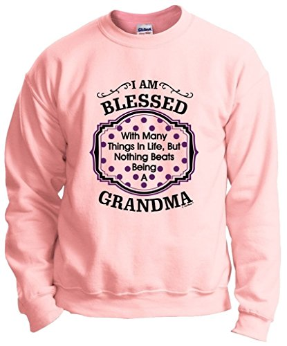 "powerful Grandma's Gift: ""Nothing beats Grandma's life"" Crew Neck Sweatshirt 2XL LtPnk Light Pink"