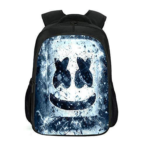 Student Bagpack, Marshmallow Leichte Multifunktions-Rucksack Festung Nacht Schultasche Dj, 3D Gedruckt Casual Wanderruck schwarz2