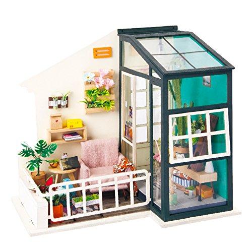 Robotime DIY Miniatur Haus Puppenhaus Kit für Erwachsene - Creative Mini Studio Room für Mädchen (Balcony)