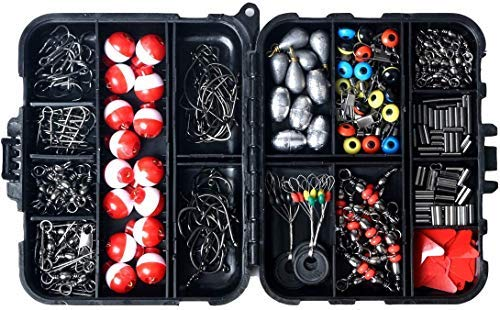 XIE 263 piezas accesorios de pesca | Equipo de pesca | Kit de pesca | Juego de pesca con caja de aparejos de pesca incluyendo señuelos de pesca, broches giratorios de pescado, gancho de plantilla