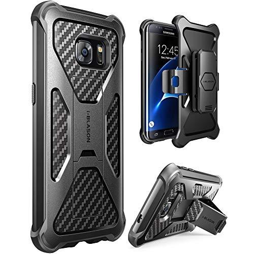 i-Blason - Custodia protettiva per Samsung Galaxy S7 Edge, con supporto e clip per cintura, colore nero