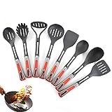 Conjunto De Cocina De Nylon Anti-Stick Pot Kitchen Set Cocina Electrodomésticos De 8 Piezas Mango gris rojo