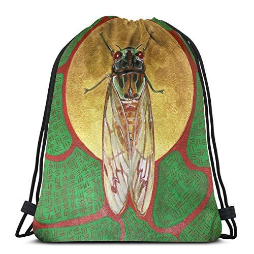 asdew987 Mochila de viaje, bolsa de gimnasio, mochila casual, mochila escolar, bolsa de entrenamiento con cordón, unisex con cordón, bolsas de hombro, bolsa de hombro Cicada Lie On The Wall Art