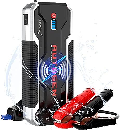AUTOGEN Arrancador de Coches, 2600A 23000mAh 12V Arrancador Batería Coche (para Todo vehículo de Gasolina o 8.0L de Diesel) con Cargador inalámbrico de 10W, IP68 Impermeable, Carga rápida USB 3.0