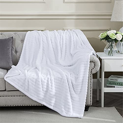 Ponvunory Oversized Flannel Fleece Microplush Fuzzy Throw Blanket(50'x70', White) - 300GSM Large...