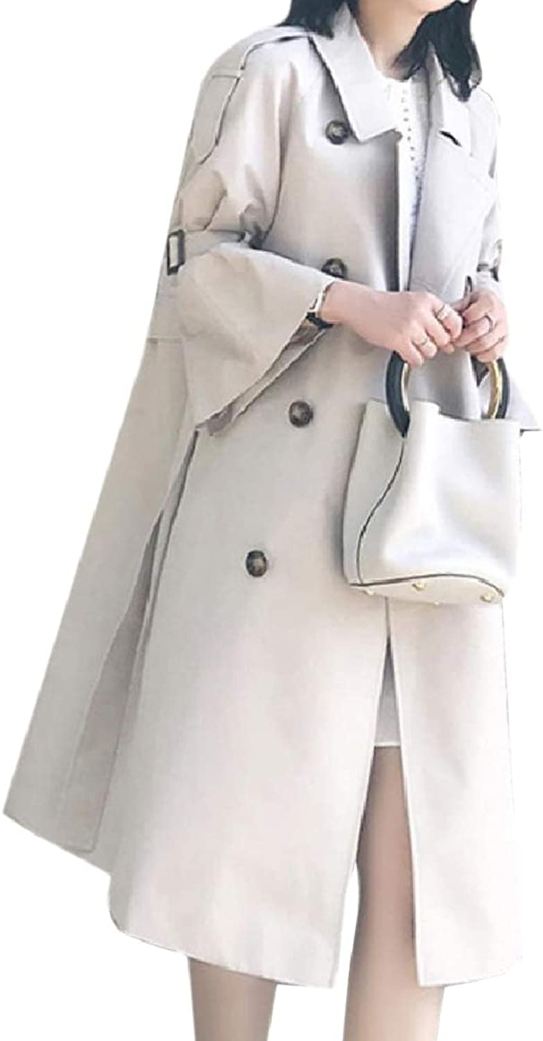 Tootca Women Loose Trumpet Lapel Jacket DoubleBreasted Overcoat Trench Coat