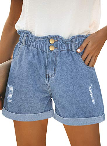 onlypuff Rolled Shorts with Pockets Elastic Mom Denim Shorts High Waisted Bermuda Jeans Light Blue L,