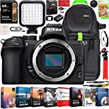 Nikon Z50 Mirrorless Camera Body 4K UHD DX-Format Bundle with Deco Gear Professional Photography Backpack Travel Case + Photo Video LED + Compact Tripod + 64GB Memory Card + Software & Accessories