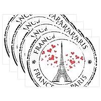 AOMOKI ランチョンマット ブランドランナー テーブル 食卓 断熱 防汚 滑り止め 丸洗い レストラン用 飾り 30x45cm 1枚 4枚セット 6枚セット Paris パリ ハート
