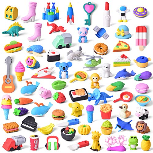 FUN LITTLE TOYS 72 PCs Pencil Erasers for Kids Classroom Prizes, Gifts...