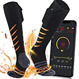 Battery Heated Socks for Men/Women-Rechargeable Electric Heating Socks with APP Remote Control,Foot Warmer for Raynaud's and Winter Outdoor Sports Skiing/Hunting/Motorcycling