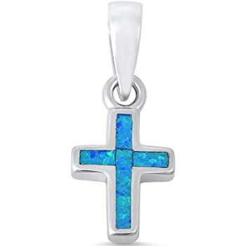 Lab Created Blue Opal Cross .925 Sterling Silver Pendant PL350684