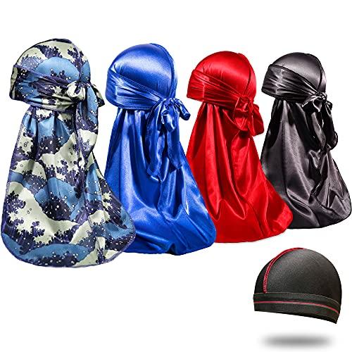 4PCS Silky Durags for Men 360 Waves, Designer Do Rag, 1 Wave Cap (BlueWave Blue Black Red)