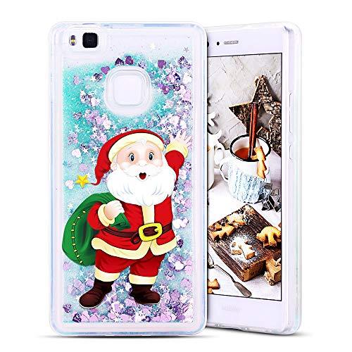 FroFine Natale Cover Huawei P9 Lite, Custodia Huawei P9 Lite 3D Glitter Liquido Trasparente Sabbia Mobili, Torre Brillantini Silicone TPU Morbida Antiurto Protettivo Case