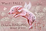 LINQWkk Metal Tin Sign Retro Wall Decor Flying Pink Pig Dandelion – What If I Fall, Oh But My Darling, What If You Fly, Cute PigAluminum Sign,Vintage Tin Signs for Home Bar Coffee