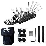 L&H Gadgets Fahrradwerkzeug Werkzeugsatz 16 in 1 Multifunktions-Fahrradreparaturwerkzeug 2 Reifenheber, 6 Aufnäher, Metallraspel und zusätzlicher 4-mm-Inbusschlüssel Fahrradreparaturset Tasche
