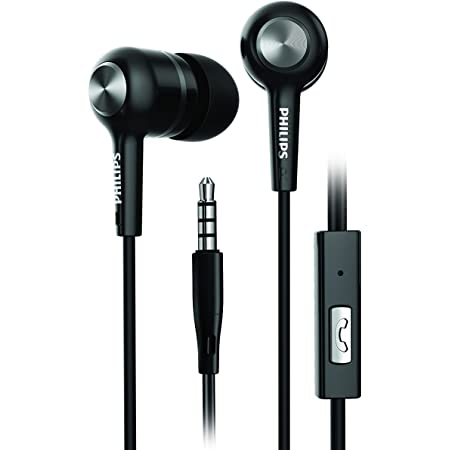 Philips SHE1505 in-Ear Rich Bass Headphones with 10 mm Drivers, Passive Noise Isolation and Mic (Black)
