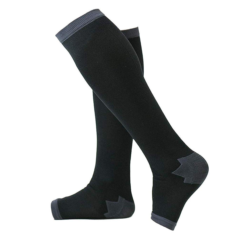 サービス急襲縁石冷え性対策 男性専用脚すっきり対策オープントゥ着圧ソックス 膝下 M-L