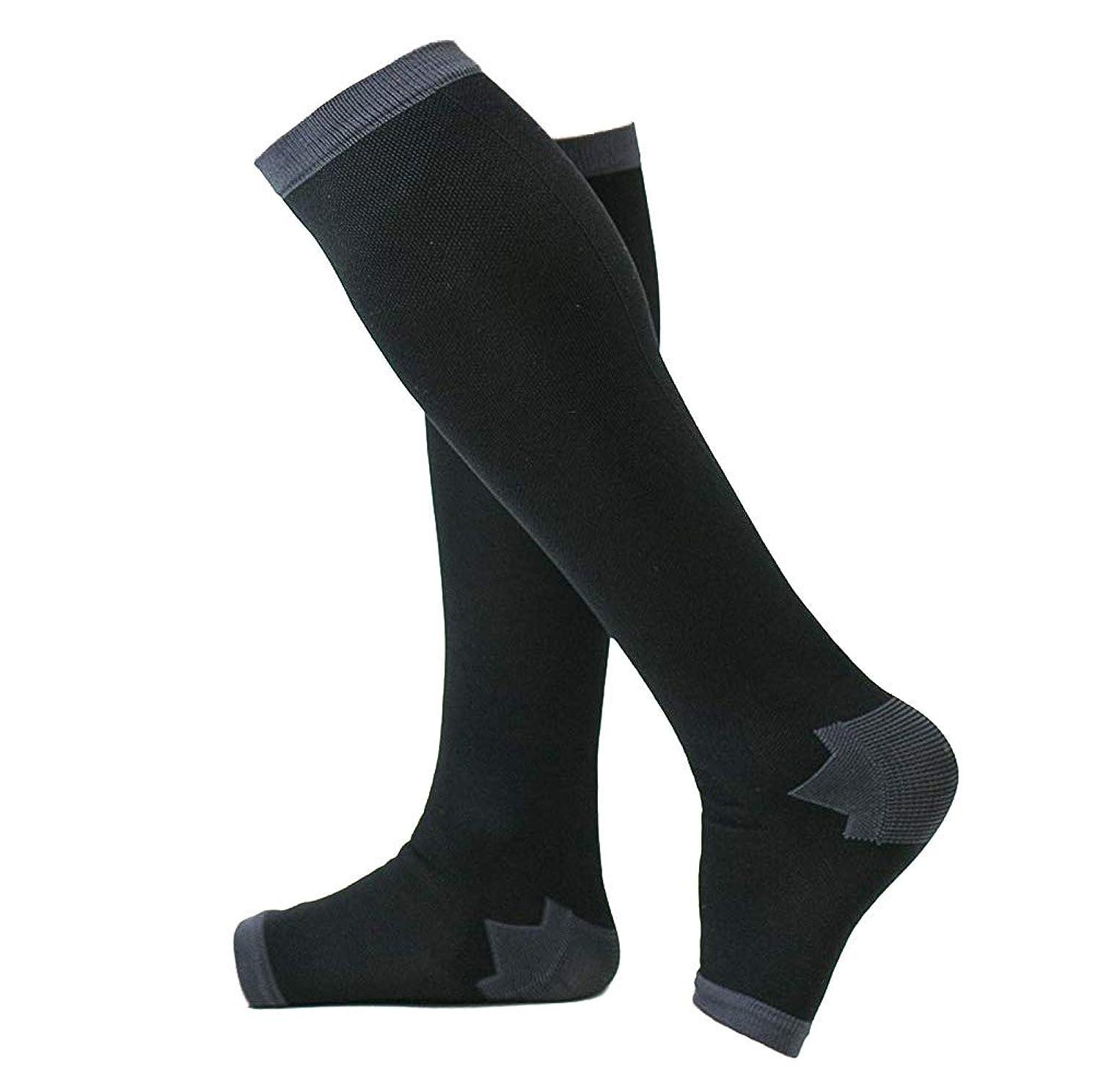 壊れたボランティア入場冷え性対策 男性専用脚すっきり対策オープントゥ着圧ソックス 膝下 L-LL