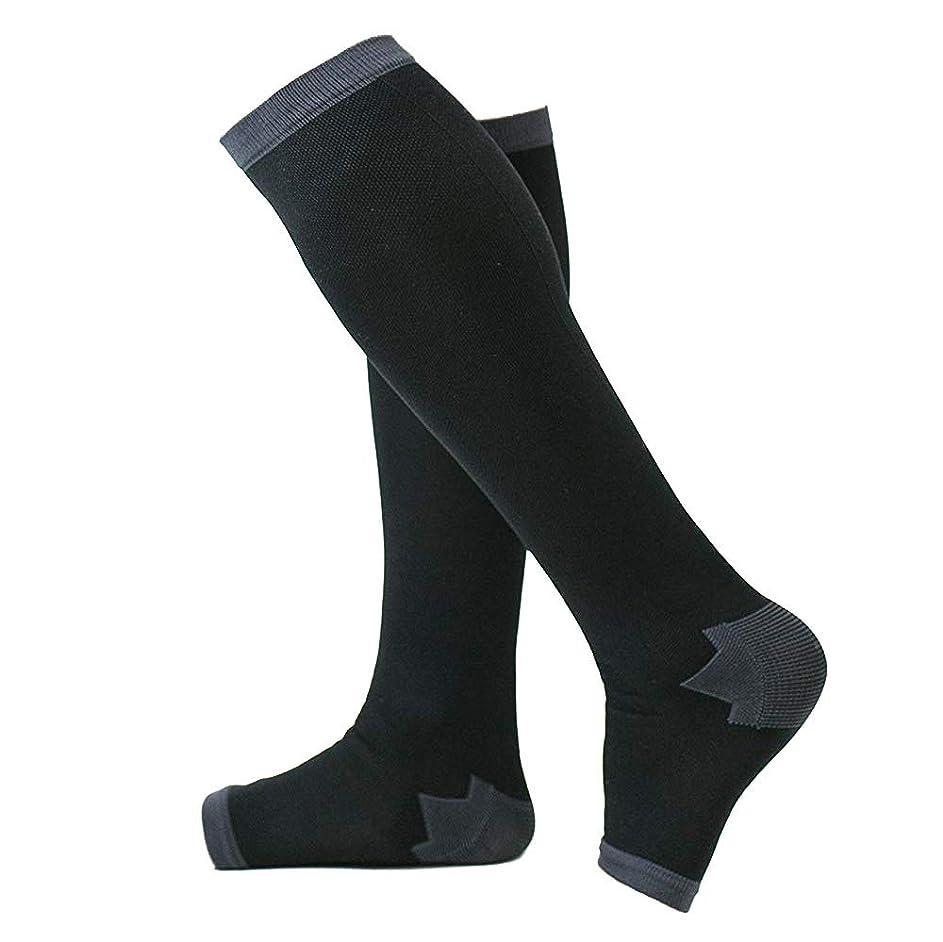 契約する上流のリットル冷え性対策 男性専用脚すっきり対策オープントゥ着圧ソックス 膝下 L-LL