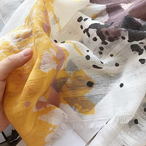 Bufanda bohemia de seda con protector solar de algodón y lino, bufanda femenina retro pastel junto al mar toalla de playa de gasa de gran tamaño para bailar hueco capa ultrafina (Splash ink retro)