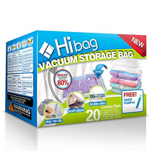 HIBAG Space Saver Bags, 20 Pack Vacuum Storage Bags (6 Medium, 5 Large, 5 Jumbo, 2 Small, 2 Roll Up Bags) with Hand Pump for Bedding, Comforter,...