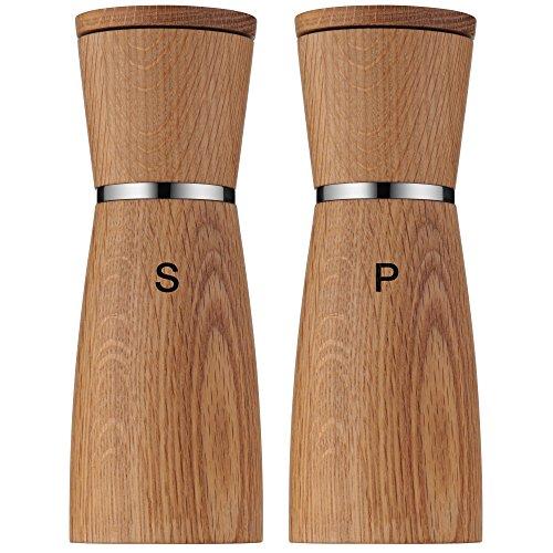 WMF Ceramill Nature Salz und Pfeffermühle-Set 2-teilig, unbefüllt, Holz Keramikmahlwerk, Mühle für Salz, Pfeffer, Chillischoten, H 17,9 cm