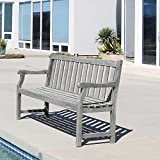 Vifah V1620 Atlantic 5-Foot Garden Bench, Grey-Washed
