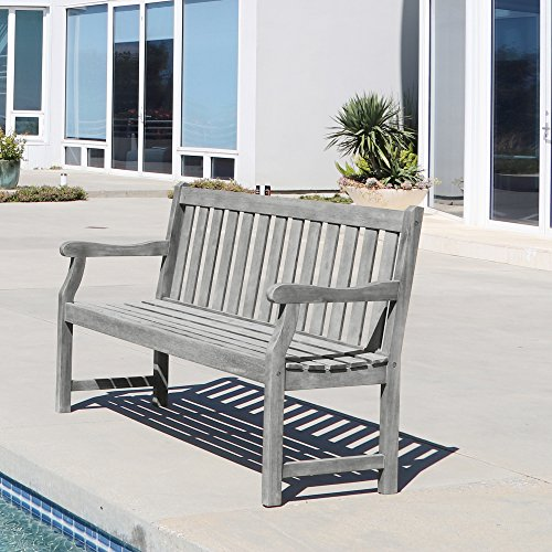 VIFAH V1620 Atlantic Slatted Acacia Weathered-Wood Bench for 3 Seater in Entry Way, Porch, Balcony, Deck, Garden, Patio, Backyard, Outdoor Seating, 550 lbs Capacity, 5Ft, Grey-Washed