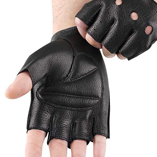 【GSG】鹿革 手袋 ドライビンググローブ メンズ 手袋 半指 レザー 指ぬきグローブ 指なし 皮 夏 自動車 運転 車 バイク ドライブ ドライバー オートバイ フィンガーレス 200643
