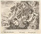 Art Print : Plate 23: a Satyr Sitting Against a Tree to Right and Holding a Flute in his Right Hand - Artist: Stefano Della Bella - Created: c1644 2 : Vintage Wall Décor : 10in x 08in