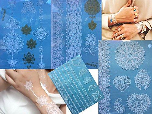 4 Feuille Tatouages temporaires Blanche et Or Henna Style White Gold Samra pour le corps Bijoux corporel