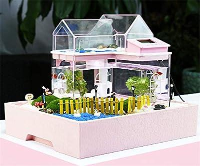 Acrylic Mini Micro Landscape Aquarium Office Desk Small Personal Ecology Multifunctional Living Room Creative Aquarium USB Powered LED fish tank lights by wexe.com