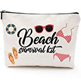 Beach Survival Kit Cosmetic Bag for Women,Adorable Roomy Makeup Bags Travel Waterproof Toiletry Bag Accessories Organizer Gifts
