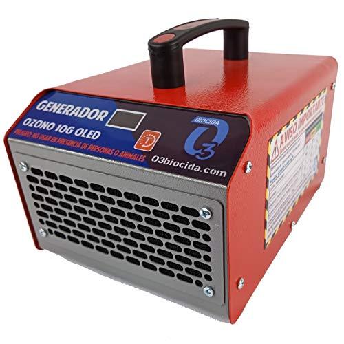 O3Biocida Generador de Ozono Profesional Industrial |10G OLED| Fabricado en España | Purificador aire Desinfectante Ozonizador |Maquina de OZONO 10.000 mg/h, 115 W|