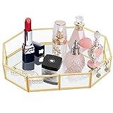 DIEYING Kosmetikschmuck Aufbewahrungstablett, Gold Spiegel Tablett Glas Dessertplatte Obst...