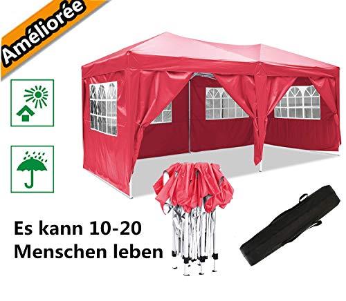 Oppikle Gazebo Pieghevole da 3m x 3m,Tenda da Giardino Pieghevole/Retrattile, Impermeabile, Rivestimento in PVC,Gazebo per Feste, Tour, Picnic (3x6m Rosso)