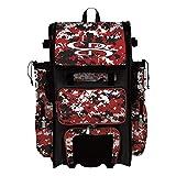 Boombah Superpack Hybrid Rolling Bat Bag Camo Bat Pack Black/Red - Wheeled & Backpack Version