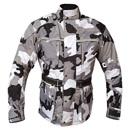 Warrior Gears® - Chaqueta de moto para hombre, diseño de camuflaje | impermeable | transpirable | protección CE para motorista Cordura textil para hombre – gris