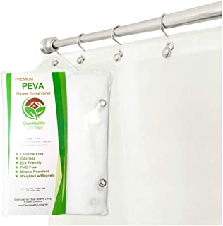 Premium PEVA Frost Shower Curtain Liner with Magnets & Suction Cups - 70 X 71 in. Long