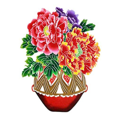 Black Temptation 4PCS Chinese Traditional Art Paper Cut Décor Collection colorée Souvenir-A06
