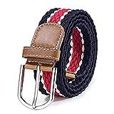 DonDon Cinturón trenzado extensible y elástico para hombres y mujeres de 100 cm a 130 cm de longitud azul oscuro-blanco-rojo