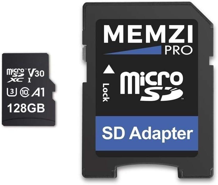MEMZI PRO 128GB Memory Card Compatible for AKASO Brave 7 LE, 6 Plus, 6/5/4, V50 Elite/Native/Pro/Pro SE, V50 Action Cameras - 100MB/s Class 10 U3 A1 V30 microSDXC with SD Adapter