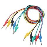 NGHSDO Pinzas Cocodrilo 5 PCS Cable de Prueba de Silicona de Doble plátano de 4 mm de 4 mm para multímetro 1m 5 Colores Pinza Cocodrilo