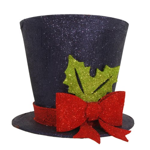 Black Glitter Christmas Tree Top Hat with Red Bow Tree Topper
