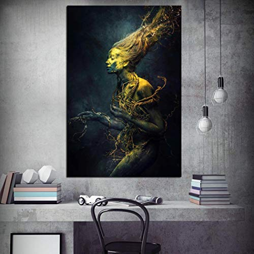 hetingyue Modulares Bildplakat Leinwandmalerei dunkle Fantasie Frau Retro HD Wallpaper Kunst Wandbild rahmenlose Malerei 30X42CM