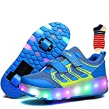 Linannau Zapatos con Ruedas Ruedas for niños Ruedas Dobles Ruedas retráctiles con Ruedas Se Pueden Cargar Zapatos con luz LED Zapatillas Deportivas al Aire Libre Unisex (Color : Blue, Size : 32EU)