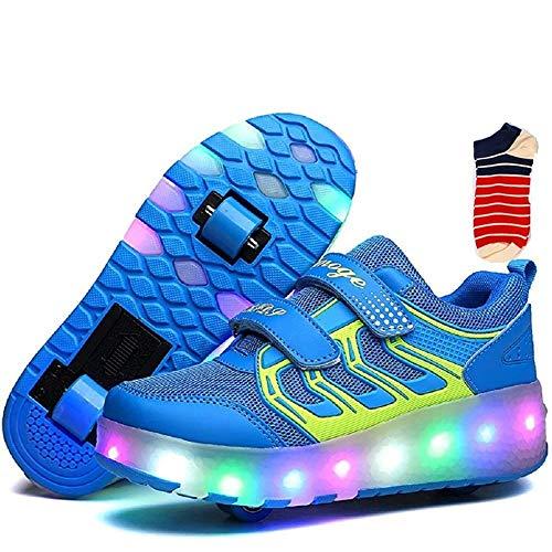 Linannau Zapatos con Ruedas Ruedas for niños Ruedas Dobles Ruedas retráctiles con Ruedas Se Pueden Cargar Zapatos con luz LED Zapatillas Deportivas al Aire Libre Unisex (Color : Blue, Size : 34EU)