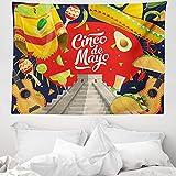 ABAKUHAUS Cinco de Mayo Wandteppich & Tagesdecke, Mexiko Feiern, aus Weiches Mikrofaser Stoff Wand Dekoration Für Schlafzimmer, 150 x 110 cm, Mehrfarbig